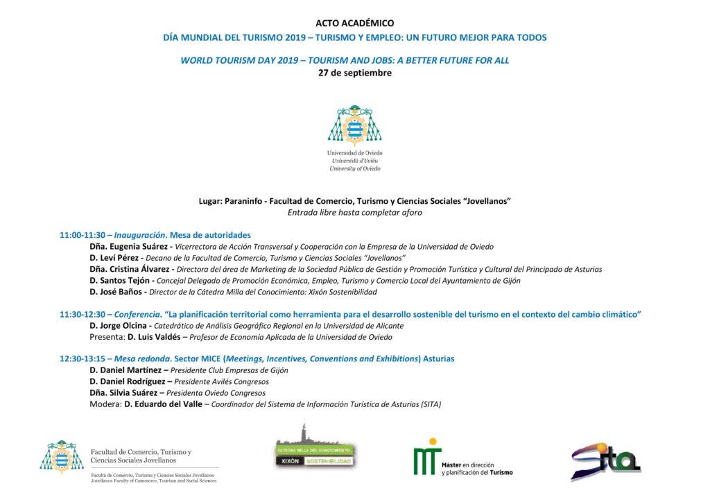 Invitación y programa acto académido día mundial del turismo